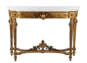 French Louis XVI Style Giltwood Console Table