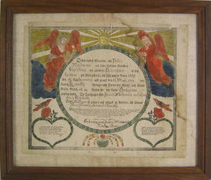 Lancaster County Pennsylvania printed and hand colored fraktur dated 1809 for the Beidman family