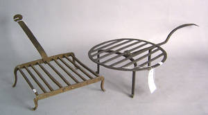 Two wrought iron roasters