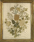 Two chenille on silk needlework floral bouquets ca 1820