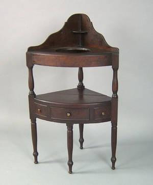 New England Sheraton cherry corner washstand ca 1820