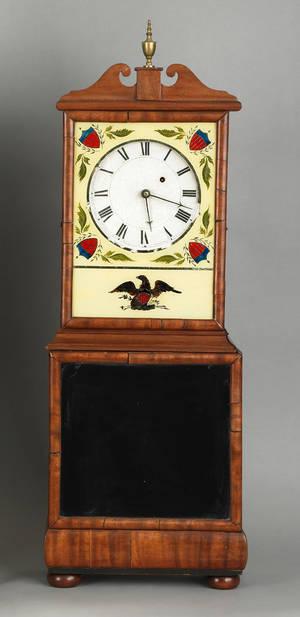 Massachusetts Federal mahogany shelf clock attributed to Aaron Willard ca 1810