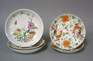 Three Chinese export famille rose shallow bowls late 18th c