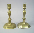 Pair of French engraved brass candlesticks ca 1720