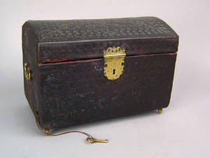 English dome lid leather lock box mid 18th c