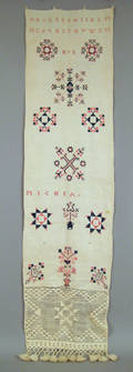 Pennsylvania silk on linen show towel 19th c