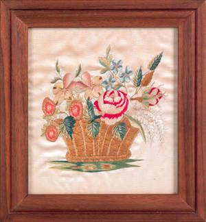 Pennsylvania Moravian silk on silk embroidery early 19th c