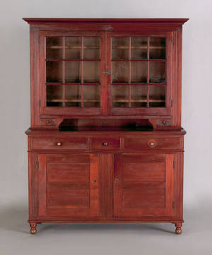 Pennsylvania walnut two part dutch cupboard ca 1825