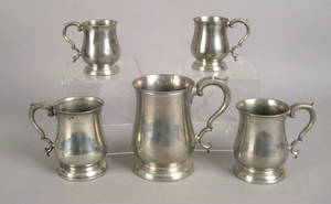 Five English pewter measures 19th c