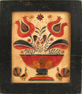 Pennsylvania watercolor fraktur possibly by David Ellinger early 20th c