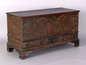 Berks County Pennsylvania painted poplar dower chest ca 1790