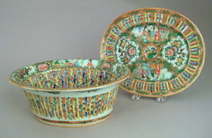 Chinese export rose medallion reticulated bowl and undertray