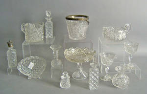 Group of cut glass table articles