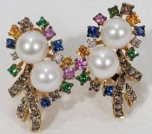 110062 14K YELLOW GOLD DIAMOND  SAPPHIRE EARRINGS