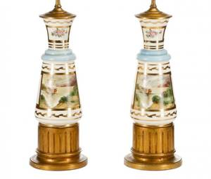 Pair of Old Paris Style Porcelain Table Lamps