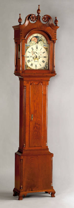 Reading Pennsylvania Chippendale walnut tall case clock late 18th c