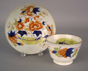 Unusual Gaudy Dutch cup and saucer 19th c