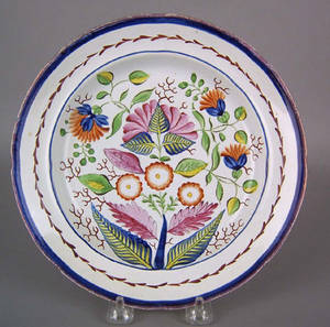Unusual Gaudy Dutch plate 19th c