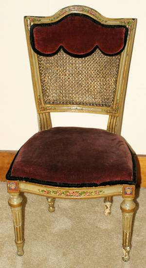 101185 LOUIS XVI STYLE HANDPAINTED SIDE CHAIR