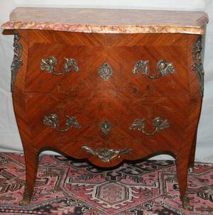 120093 WALNUT  FRUITWOOD BOMBE COMMODE MID 20TH C