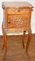 111247 FRENCH WALNUT HUMIDOR WMARBLE TOP 20TH C