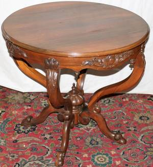 102067 LAMINATED ROSEWOOD PARLOR TABLE DIA315