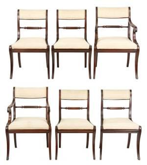 Set of 6 John Widdicomb Regency Dining Chairs