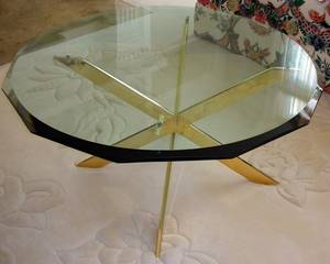 121247 CONTEMP GLASS TOP METAL BASE COCKTAIL TABLE