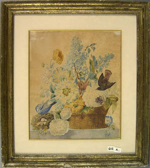 Watercolor floral still life late 19th c