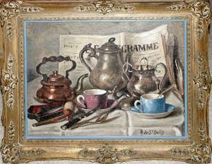 111299 R DE ST DELIS OIL ON CANVAS STILL LIFE