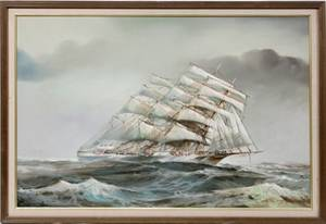 110144 AFTER GH CHAMBERS OIL ON CANVAS SAILING SHIP