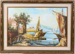 102093 MODERN EUROPEAN OIL ON CANVAS HARBOR SCENE