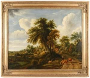 19th C British School Large Pastoral Landscape