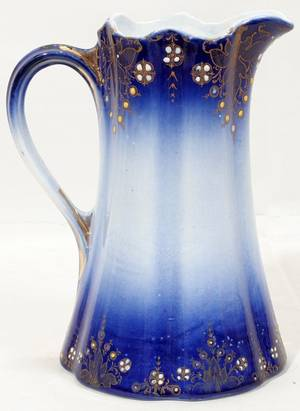 111332 KELLER  GUERIN FLOW BLUE PITCHER C1900