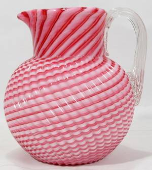 101309 VICTORIAN CRANBERRY OPALESCENT GLASS PITCHER