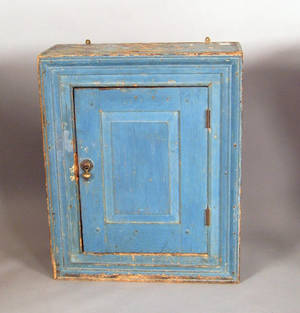 Painted pine hanging cupboard ca 1800