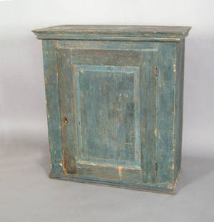 New England painted pine hanging cupboard ca 1800