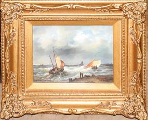 121310 NATHAN OIL ON WOOD PANEL NAUTICAL SCENE