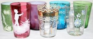 111376 VICTORIAN GLASS TUMBLERS 19TH C H44 3