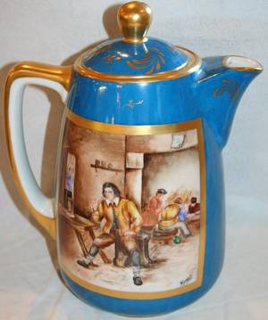110231 FRENCH PORCELAIN COFFEE POT WTAVERN SCENE