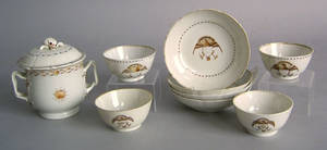 Four Chinese export cups and saucers