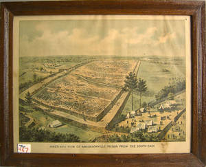 Color lithograph of Andersonville Prison by JW Morton