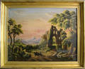 Oil on canvas primitive landscape