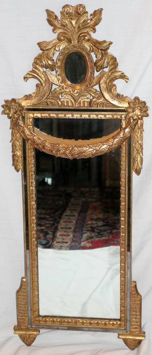 121339 ITALIAN STYLE GILT WOOD  GESSO MIRROR
