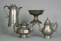 Three pewter coffee pots