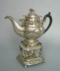 Continental silver teapot on warming stand earlymid 19th c