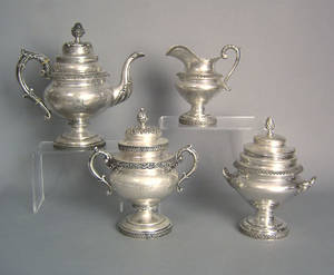 Philadelphia silver fourpiece assembled tea service ca 1835