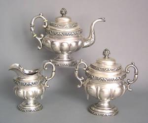 Philadelphia or New York silver threepiece tea service ca 1830