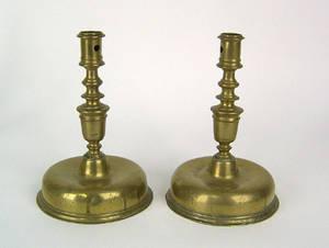 Pair of Spanish brass candlesticks ca 1700