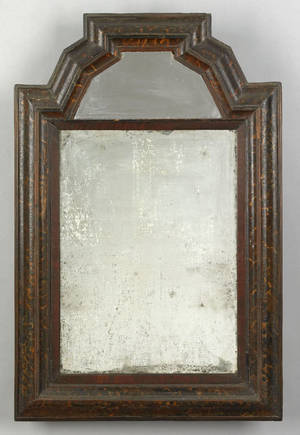 English William  Mary painted mirror late 16th c